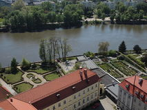 Cathedral of St. John the Baptist. View from tower of Cathedral. Gardens and river Odra. Wroclaw Stock Images