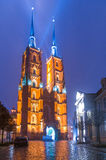 The Cathedral of St. John the Baptist in Wrocław at night Stock Image