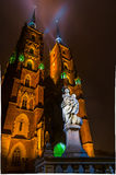 The Cathedral of St. John the Baptist in Wrocław at night Royalty Free Stock Image