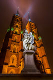 The Cathedral of St. John the Baptist in Wrocław at night Royalty Free Stock Photography