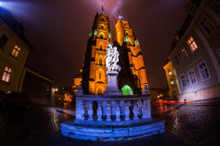 The Cathedral of St. John the Baptist in Wrocław at night Royalty Free Stock Images