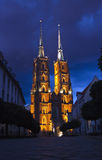 Cathedral of St. John the Baptist in Wroclaw. Poland at night Royalty Free Stock Photography