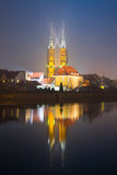 The Cathedral of St. John the Baptist in Wroclaw at night. Stock Photography