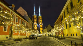 Cathedral of St. John in Wroclaw at night, Poland Stock Image
