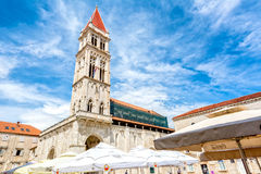 Cathedral of St. Lawrence, Trogir. He Cathedral of St. Lawrence Croatian: Katedrala Sv. Lovre is a Roman Catholic triple-naved basilica constructed in Romanesque Stock Images