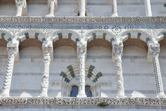 Cathedral of St. Martin closeup (Lucca, Italy) Stock Photo