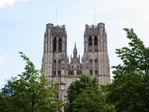 Cathedral of St. Martin and St. Gudula in Brussels Stock Images