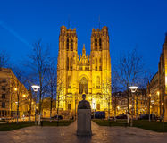 Cathedral St Michael Brussels Belgium Stock Photos
