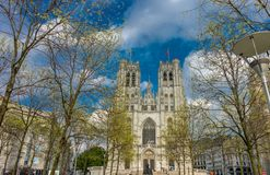 The Cathedral of St. Michael and St. Gudula at Brussels, Belgium royalty free stock image