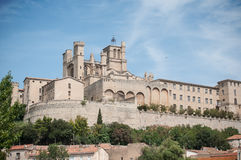 Cathedral St Nazaire in Beziers the city in south. Panorama of cathedral St Nazaire in Beziers the city in south France royalty free stock photos