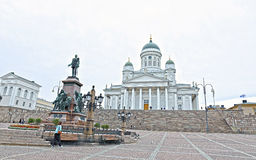 Cathedral of St. Nicholas (Cathedral Basilica) and monument Stock Image
