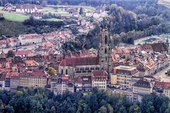 Cathedral of St. Nicholas in Fribourg, Switzerland Royalty Free Stock Photos