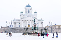 Cathedral of St. Nicholas on the Senate Square in winter royalty free stock image