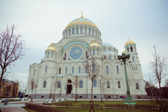 Cathedral of St. Nicholas in town Kronshtadt, Russia Stock Image