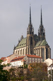 Cathedral of St. Peter and Paul, Brno. I am passing by this city dominant almost daily, however, only today I found the right angle to make a photo of its full royalty free stock images