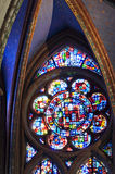 Cathedral St Pierre of Beauvais - interior 15. Colored stained glass window detail Photo: 2014 royalty free stock photography