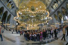 ISTANBUL, TURKEY - MARCH 28, 2012: Interior of the Hagia Sophia. royalty free stock images