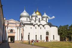 The cathedral of St. Sophia (the Holy Wisdom of God) in the Novgorod Kremlin stock photo