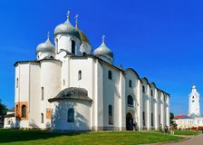 Cathedral of St Sophia at the Kremlin of Veliky Novgorod, of Russia stock image