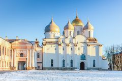 The cathedral of St. Sophia in the Novgorod Kremlin, Veliky Novgorod, Russia. The cathedral of St. Sophia the Holy Wisdom of God in the Novgorod Kremlin, Veliky stock images