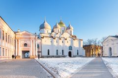 The cathedral of St. Sophia in the Novgorod Kremlin, Veliky Novgorod, Russia stock photography