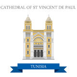 Cathedral of St Vincent de Paul Tunisia Flat histo Royalty Free Stock Images