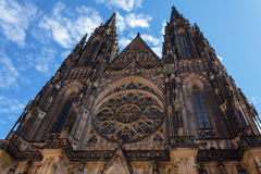 Cathedral of St. Vito, the most beautiful cathedral of Prague Stock Image
