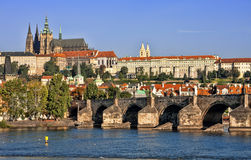 The Cathedral of St. Vitus and Charles Bridge. Stock Image