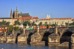 The Cathedral of St. Vitus and Charles Bridge. Stock Photo