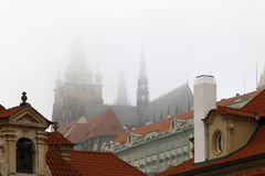 Cathedral of St Vitus in fog Stock Images