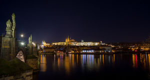 Cathedral of St. Vitus, Prague castle and the Vltava in night Stock Photography