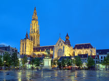 Cathedral and statue of Peter Paul Rubens in Antwerp at evening Royalty Free Stock Photo