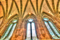 Stavanger Cathedral. Closeup of stained glass inside of Cathedral of Stavanger in Norway, Europe Royalty Free Stock Photography