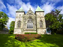 Cathedral in Stavanger. Norway. STAVANGER, NORWAY - JULY 09, 2015: East facade of Stavanger Cathedral (Stavanger domkirke, circa XIII c.). The oldest cathedral royalty free stock image