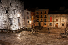 Cathedral Steps and Square at Night in Girona Stock Photography