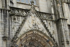 Cathedral stonework. Beautiful ornate stonework in cathedral in quimper Royalty Free Stock Photography