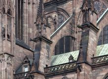 Cathedral in Strasbourg closeup Royalty Free Stock Images