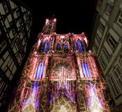Cathedral of Strasbourg illuminations Royalty Free Stock Images