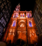 Cathedral of Strasbourg illuminations Stock Images
