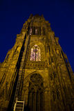 The cathedral in Strasbourg at night Royalty Free Stock Image