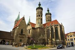 Cathedral of Sts Peter and Paul Dom in Naumburg. Naumburg, Germany  - April 13, 2016. Cathedral of Sts Peter and Paul Dom in Naumburg, with surrounding buildings Stock Photo
