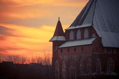 Cathedral at sunset in Kaliningrad Stock Images