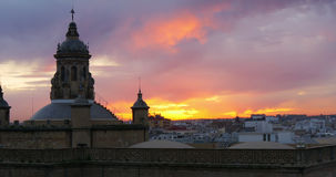 Cathedral sunset seville view 4k spain stock video footage