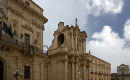 CATHEDRAL OF SYRACUSE-- historic city in Sicily, Italy Stock Photos
