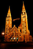 Cathedral of Szeged. At night.(Hungary&#x29 Stock Photography