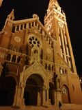 Cathedral in Szeged Hungary. Hdr night photo Royalty Free Stock Images