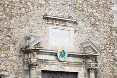 Cathedral of Taormina. Close-up of the front of the cathedral of Taormina Royalty Free Stock Photos