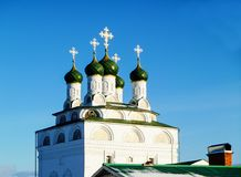 Cathedral with green dome. Cathedral on territory Blagogoveyno-bogoyavlenskogo priory in the field of Vladimirskoy,Russia Stock Image