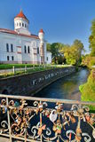 The Cathedral of the Theotokos and Vilnia river. Užupis. Vilnius. Lithuania Stock Image