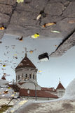 Cathedral of the Theotokos, Vilnius in the reflection of the pud Stock Photography